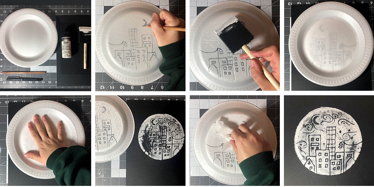 Step-by-step images of the creation of styrofoam plate art,