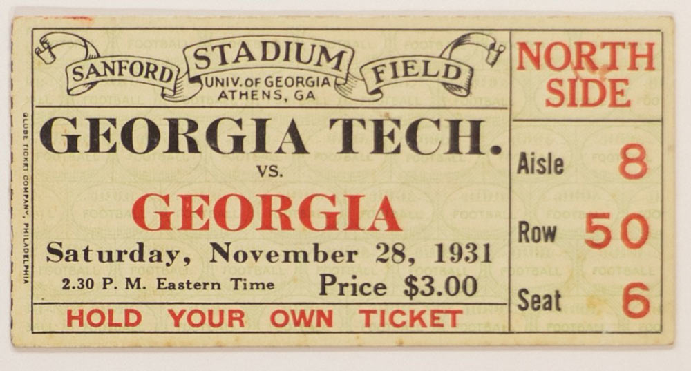 University of Georgia vs Georgia Tech ticket from 1931