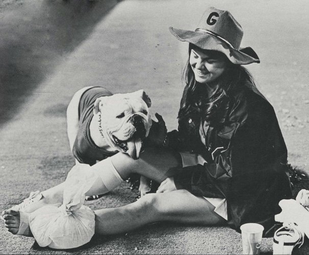 1970s: Student wearing Georgia clothes with a bulldog