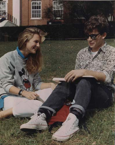 1980s: Students reading on campus