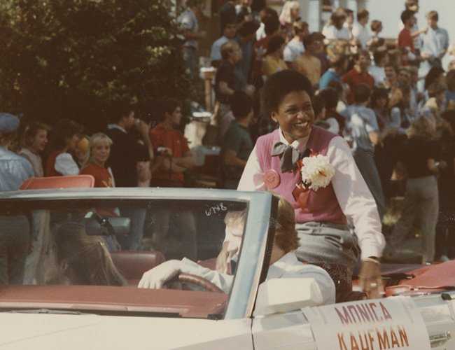 1980s: Monica Kaufman in the UGA homecoming parade
