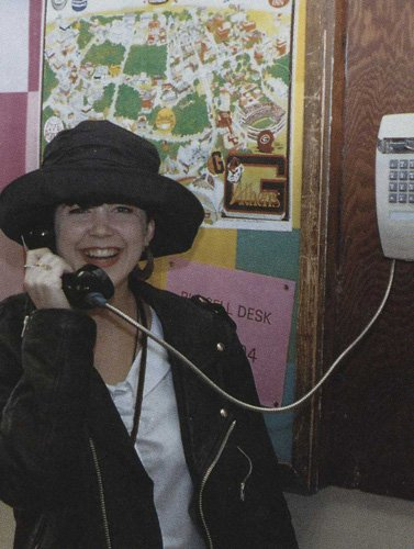 1990s: Student talking on the telephone
