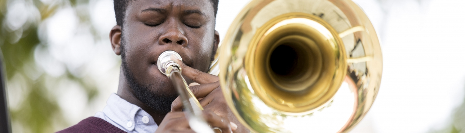 UGA Student Playing the Trumpet