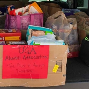 Donated food in the back of a van
