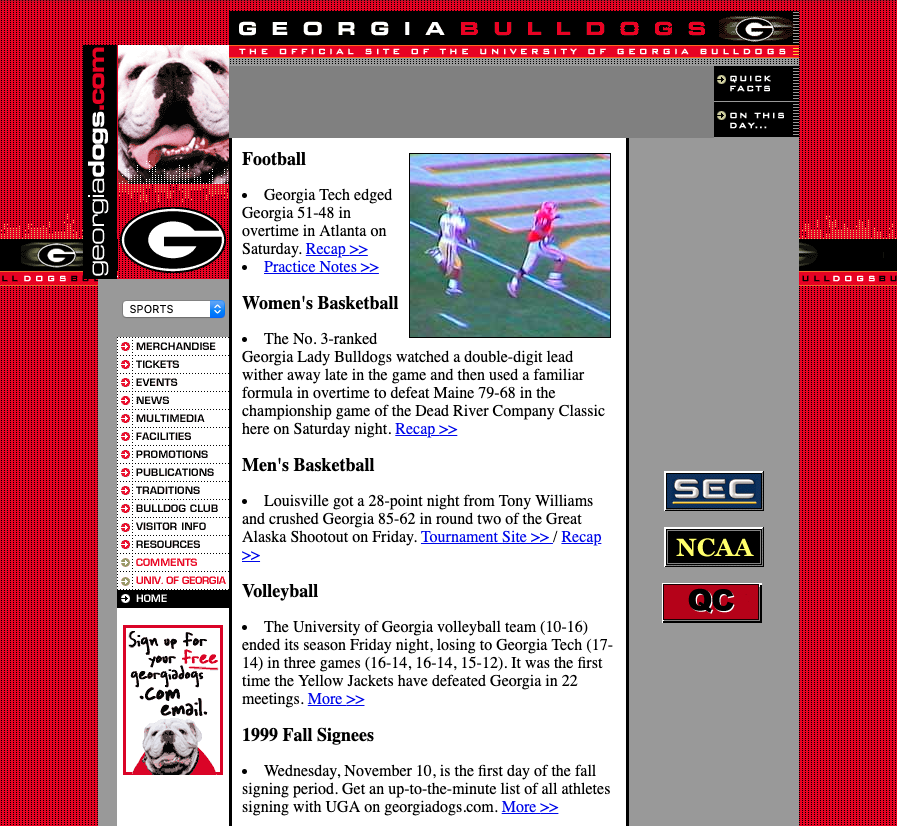 UGA Athletics - Nov. 1999
