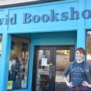 Janet Geddis (MED '06) owner of Avid Bookshop stands in front of her store in Athens, GA