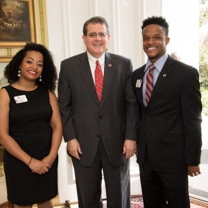 Teman Worku + Kevin Steele with President Morehead