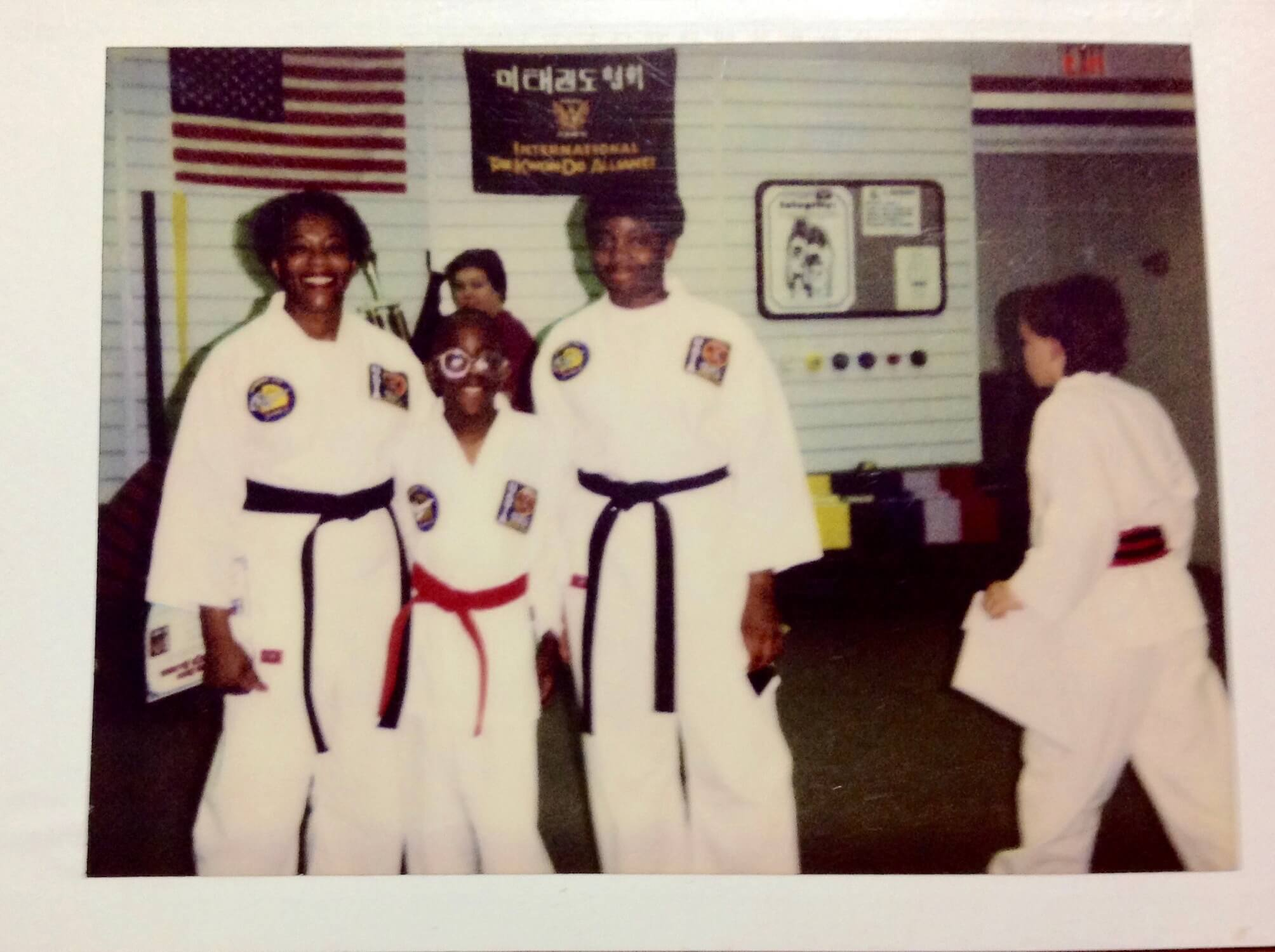 Stacey Chavis and her family at Tae Kwon Do practice.
