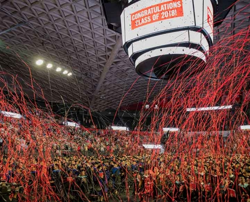 View of the 2018 Graduate School Spring Commencement ceremony streamer celebration. Image provided by the University of Georgia/by Chad Osburn.
