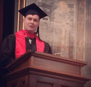 Russ delivering convocation speech 2014
