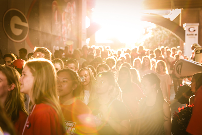 Students enter Sanford Stadium through tunnel