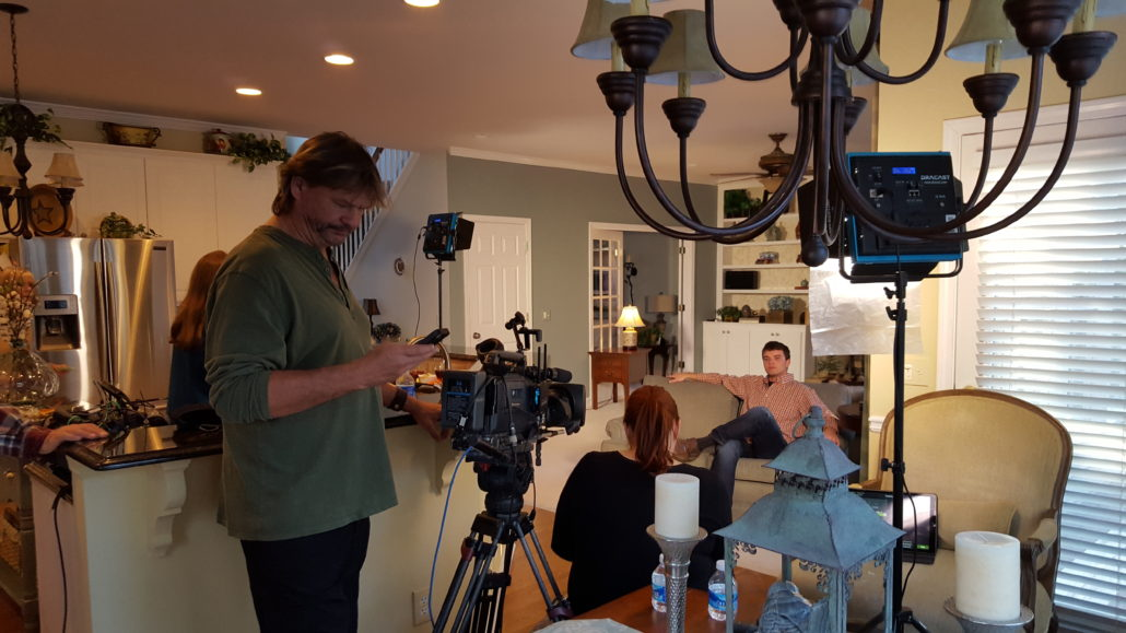 Intro Scene at Parents Suwanee House. Adam and Film Crew