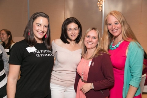 Danielle (far right) at a Lean In event with Sheryl Sandberg (second from left) and other Atlanta-based Lean In leaders, Emily Schwarz and Alison Eminger.