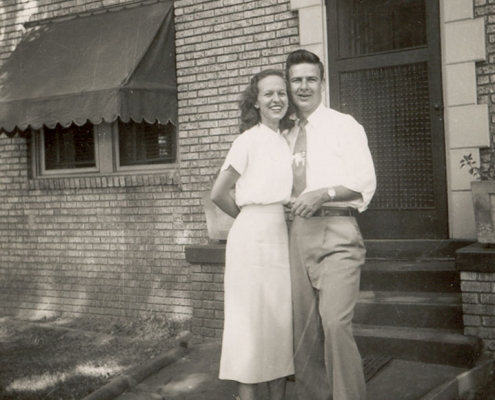 "Barbara ""Susy"" Nell Davis (BSHE '48) and Glenn Lewis Taylor (BSED '49) in front of their home."