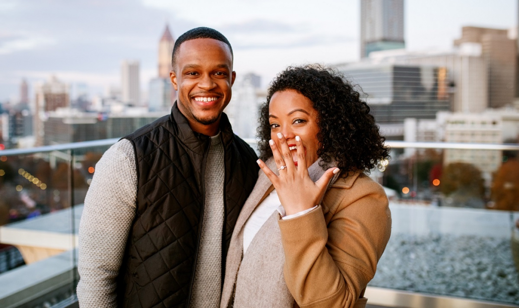 Teman Worku and Kevin Steele Rooftop Engagement Photo