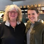 Sandra Derrick (BSHE '76, MED '80) and her mentee Anna Schermerhorn '20 meet for the first time