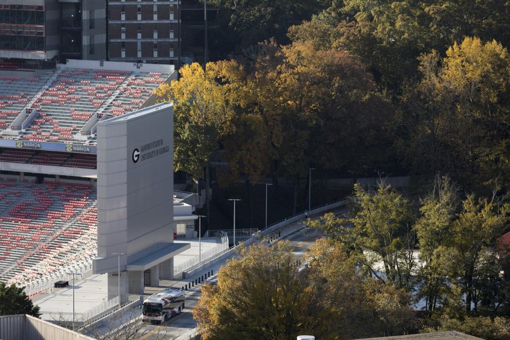 aerial shot of Sanford Stadium
