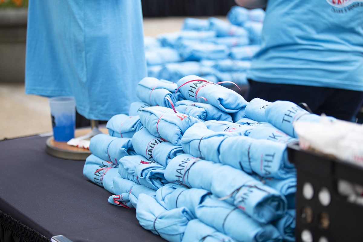 A photo of the t-shirt table at TADD.