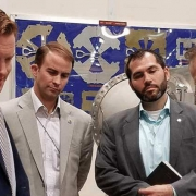 Kyle Wiley (second from left) tours Argonne National Laboratory in Lemont, Illinois.