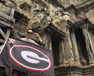 Dr. Vy Do (BS '10) celebrated his 30th birthday at Angkor Wat in Siem Reap, Cambodia and brought his UGA pride with him.