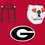 Super G, Heart eyes Uga, and Arch emojis