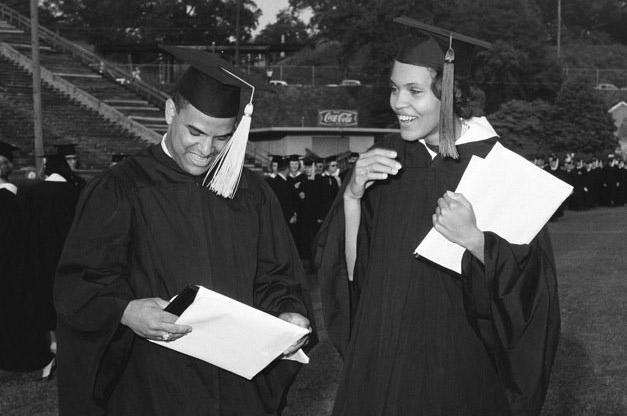 Hamilton Holmes and Charlayne Hunter after they received their diplomas from UGA.