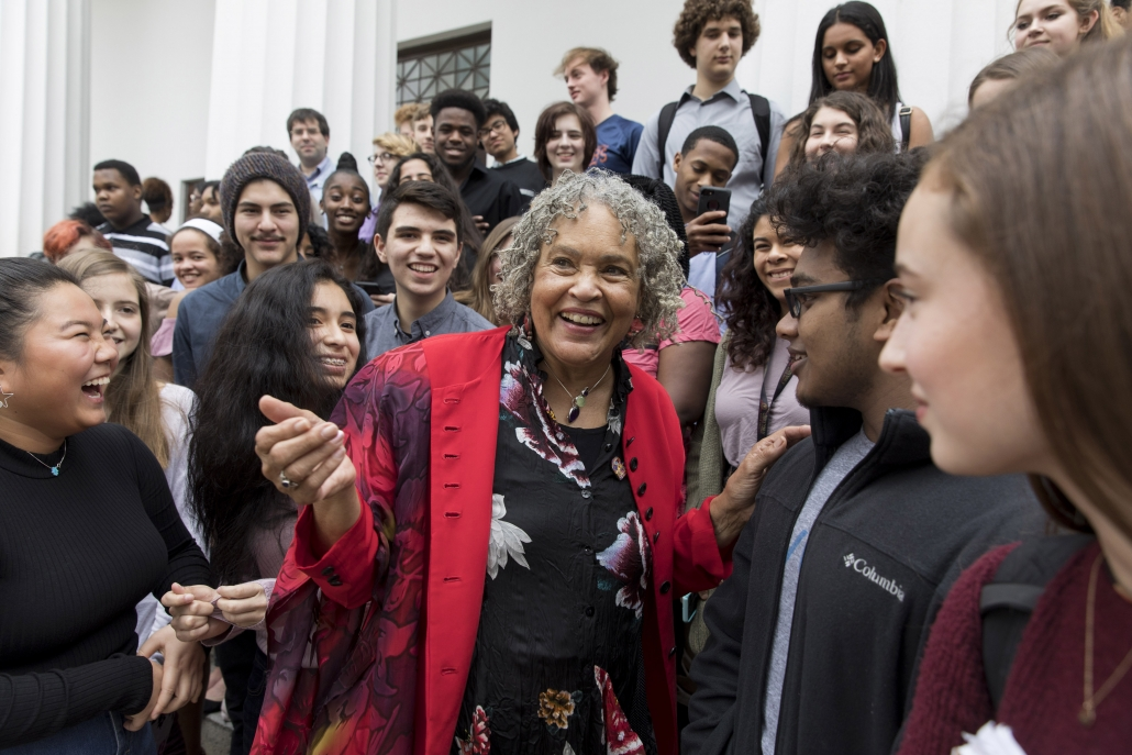 Charlayne Hunter-Gault meets with students from Cedar Shoals and Clarke Central high schools outside of the Chapel before delivering the Holmes-Hunter Lecture in February 2018. (Photo by Andrew Davis Tucker/UGA)