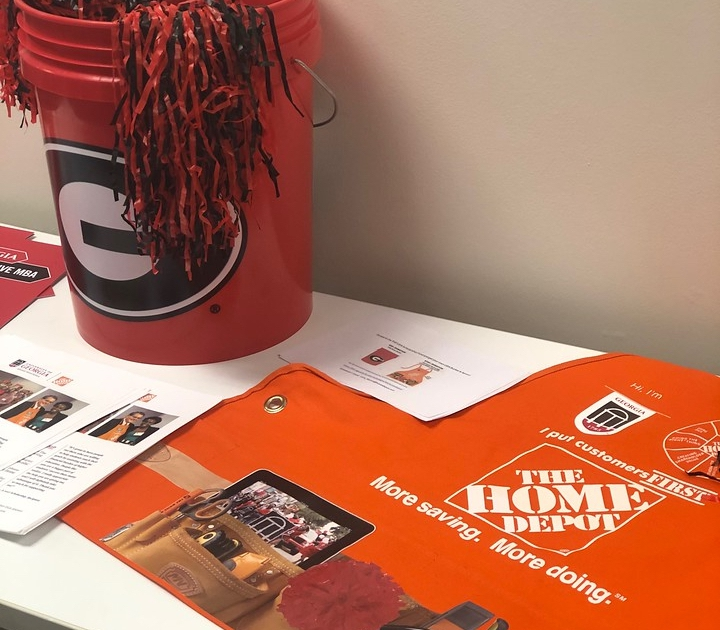 Home depot logo with UGA swag