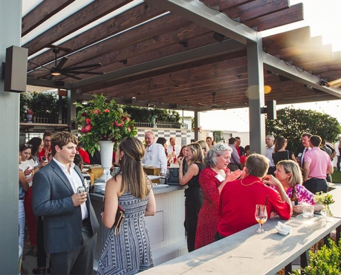 UGA Alumni and friends gather on Perry Lane Hotel rooftop.