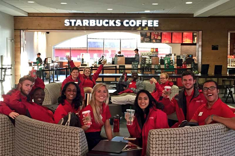 UGA Orientation Leaders at the Starbucks in Tate Student Center