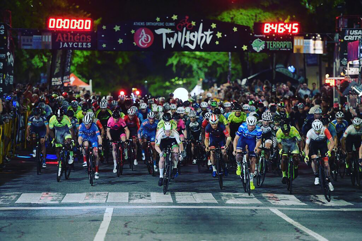 Twilight Criterium racers start their laps around downtown Athens.