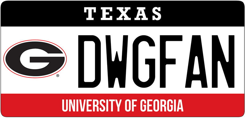 Get your UGA license plate in Texas