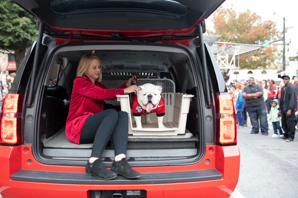 Uga in the trunk of Victory Red Suburban car